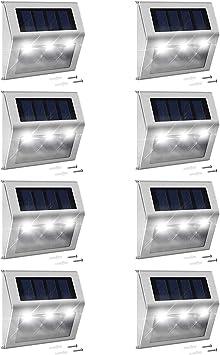 LED Solar Ground Spotlight Stainless Steel Recessed Luminaire IP44 with Eye Sensor