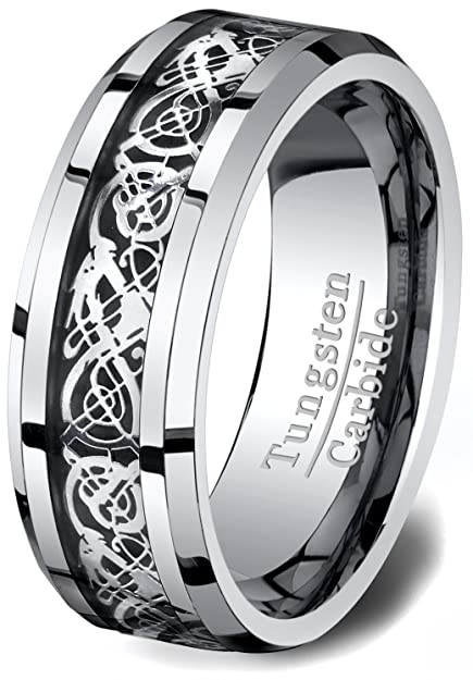 MOWOM Silver Gold Two Tone Tungsten Ring Band Irish Celtic Knot Dragon Wedding 1sGVKZugVf