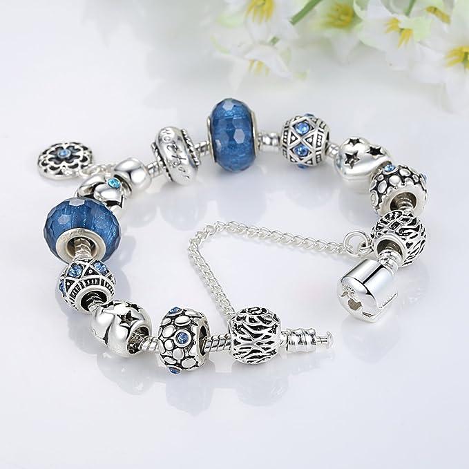 Bracelet Verre de Murano avec Fleurs Pendentif,bijoux fantaisie,Cadeau  parfait pour les fêtes anniversaires,Cadeau pour femmes filles  Amazon.fr   Cuisine ... 25a421064b88
