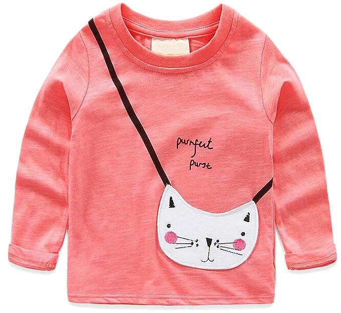 CXX - Niña de Dibujos Animados Carta Gato Parcheado Bordado Camiseta: Amazon.es: Ropa y accesorios