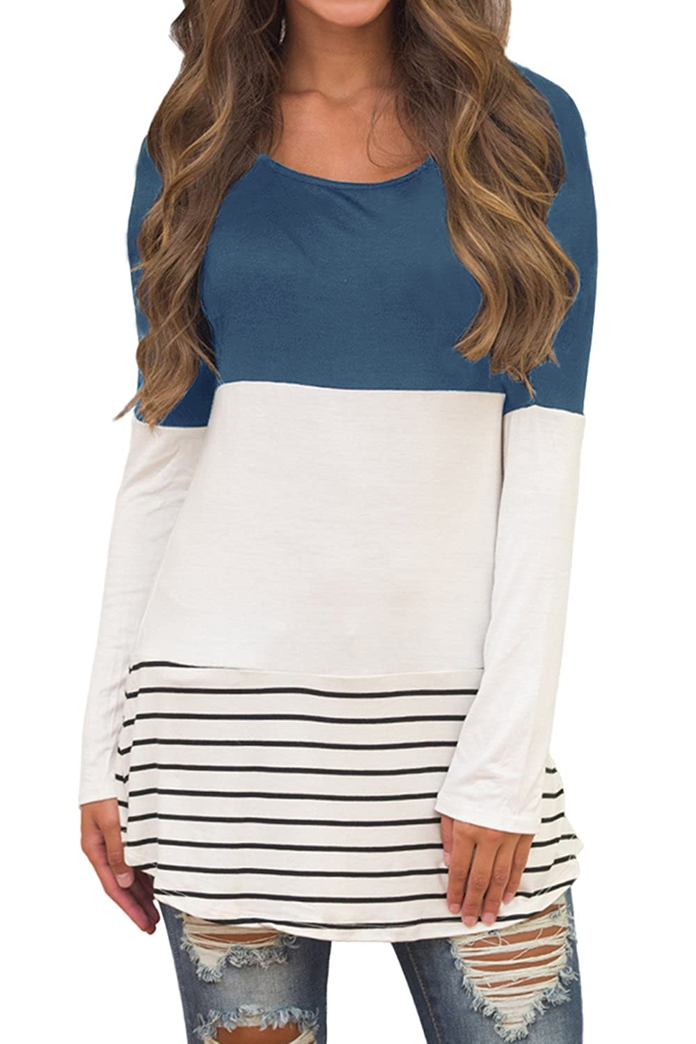 bluee Shepink Women's Long Sleeve color Block Shirts Tunics Tops with Potcket