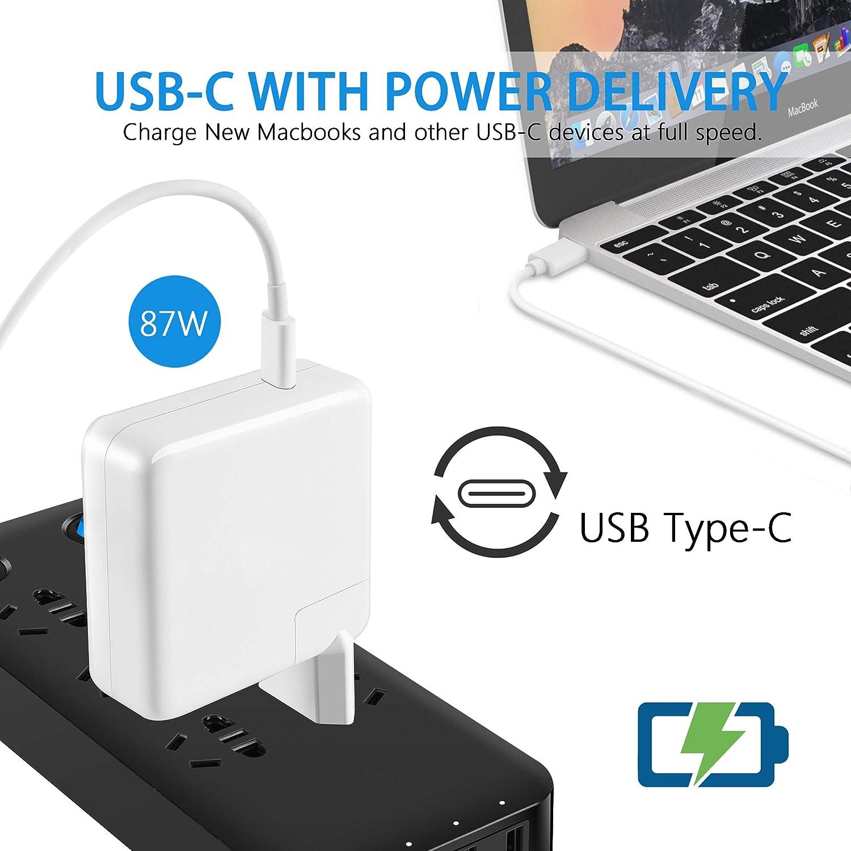 Caricatore sostitutivo per altri dispositivi elettronici di Adattatore 87W Compatibile con MacBook Pro Air Caricatore USB C 13//15 pollici 2016 fine 2017 2018 Compreso cavo USB C E-Mark 6.6ft//2m