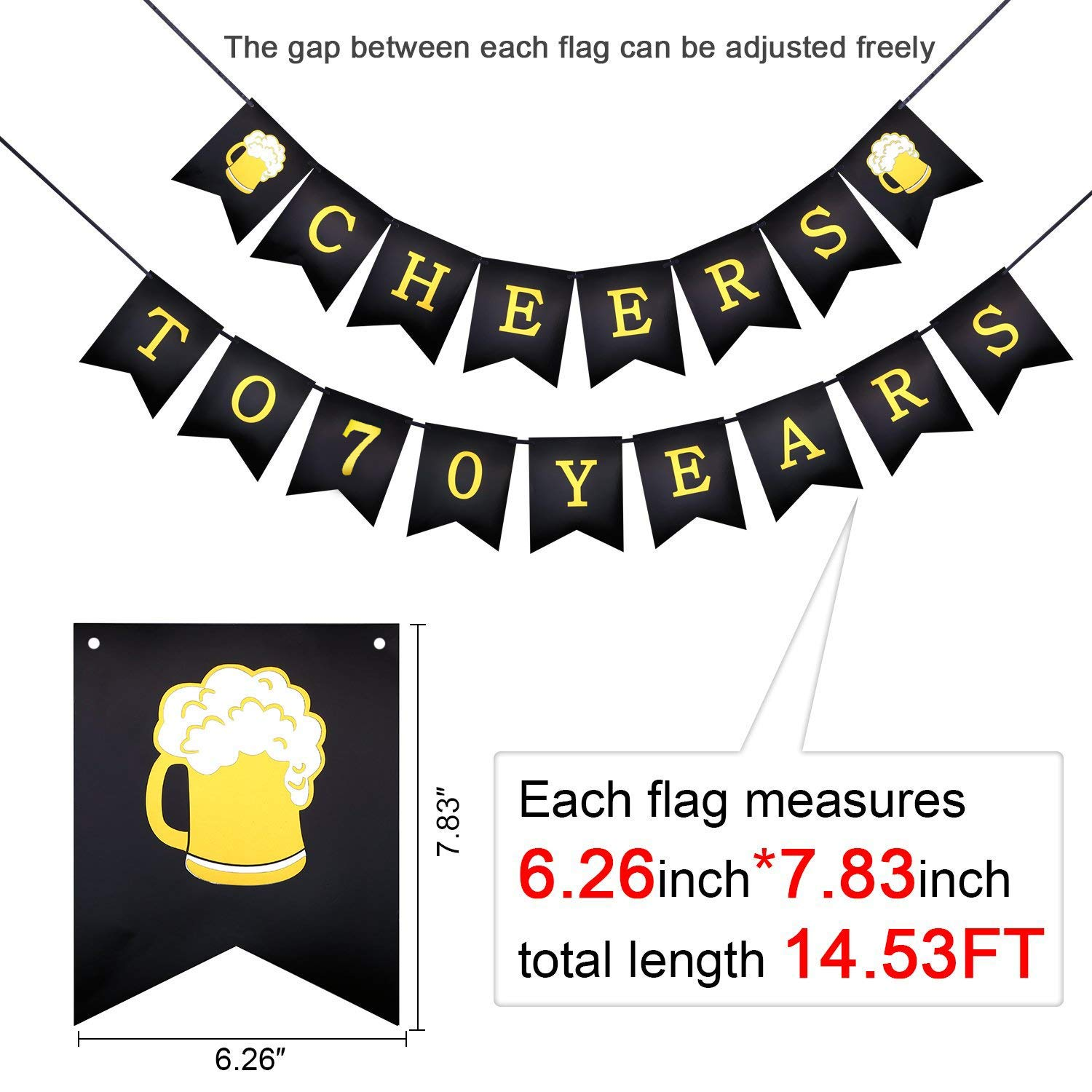 70th Birthday Decorations Kit Konsait Cheers to 70 Years Banner Swallowtail Bunting Garland Sparkling Celebration 70 Hanging Swirls,Perfect 70 Years Old Party Supplies 70th Anniversary Decorations
