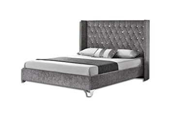 buy online 366a7 b73ae Unmatchable Wing Back Upholstered Bed Frame in Crushed Velvet OR Chenille,  Multiple Sizes & Colours Available (Silver Chenille, Double)