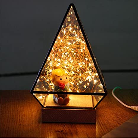 glass display dome cloche led night light table lamp for christmas wedding decoration usb gift