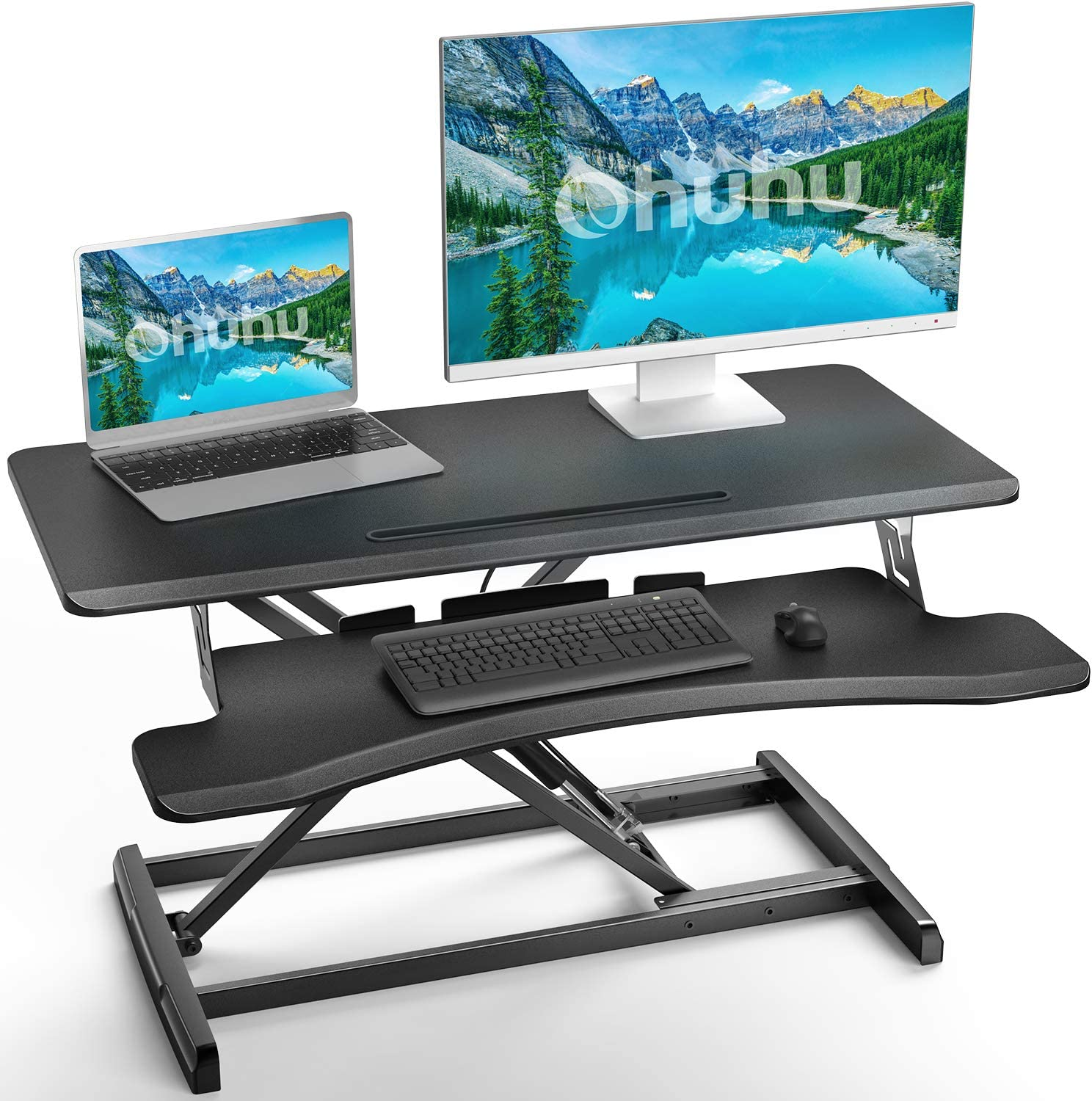 Height Adjustable 34.6 inch Standing Desk Converter, Ohuhu Sit to Stand Up Desk Riser - Home Office Desk Workstation for Dual Monitors and Laptop with Removal Keyboard Tray, Gas Spring Lift - Black