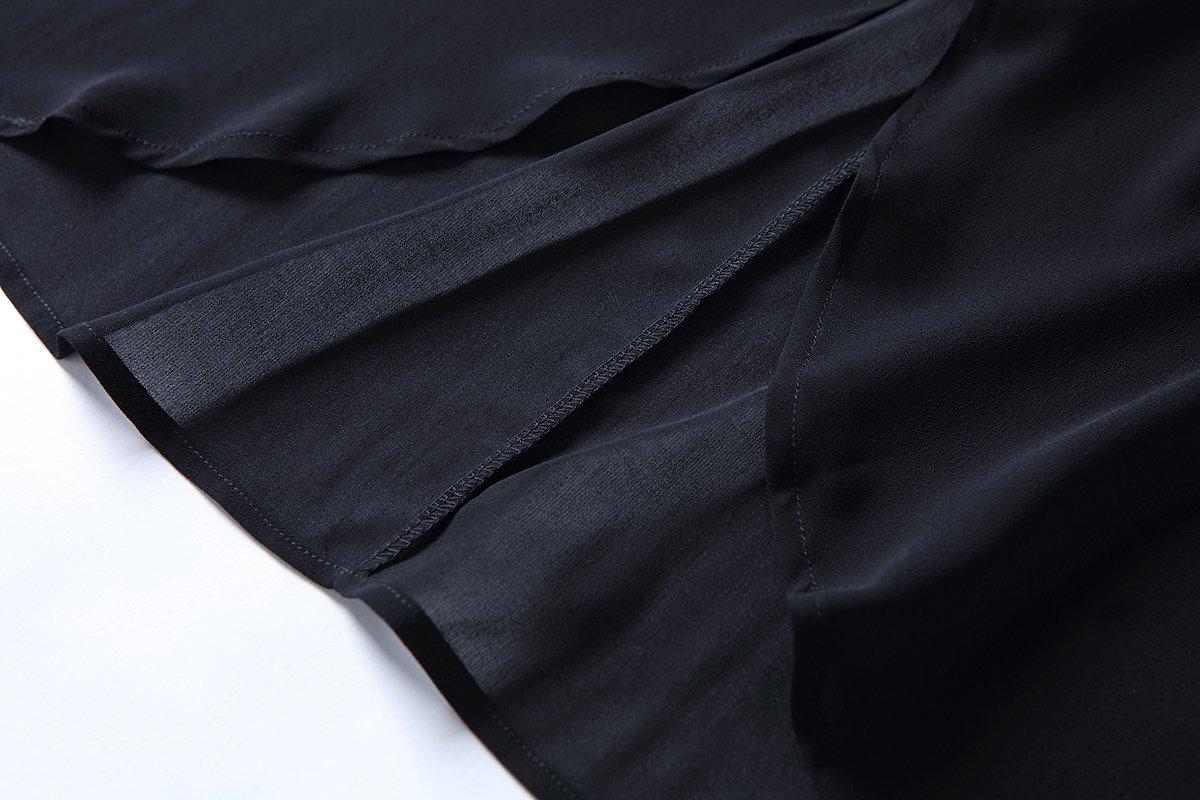 OLRAIN Women's Floral Print Sheer Chiffon Loose Kimono Cardigan Capes (X-Large, Black-1) by OLRAIN (Image #5)