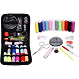 Sewing Kit for Travel,Mini sew kits supplies with 74 Portable Basic Sewing Accessories & 12 Color Spools of Thread for Beginners,Traveller,Emergency,Family starter to Mending and Repair