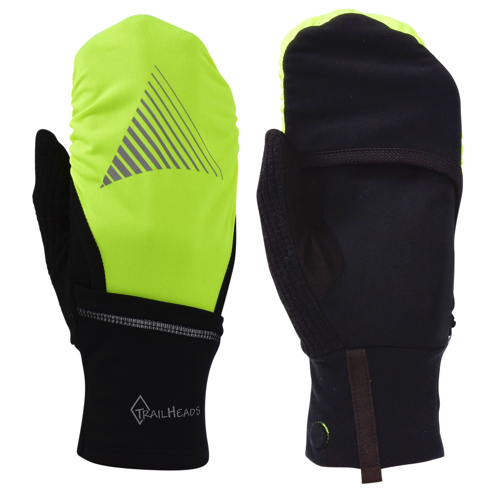 TrailHeads Convertible Running Gloves - black/hi-vis (small/medium) by TrailHeads (Image #1)