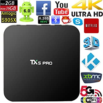 vipwind TX5 Pro Android 6.0 TV caja DDR3 2 GB 16 G Amlogic S905 X reproductor