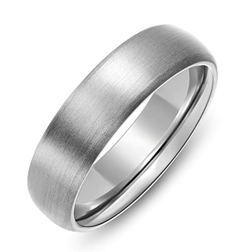 abac8b586 6mm Dome Brushed Plain Titanium Ring Womens Wedding Bands Comfort Fit Size 5