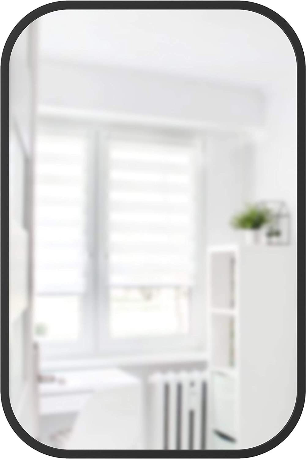 Umbra Hub Rectangular Wall Mirror with Rubber Frame, Modern Decor for Entryways, Washrooms, Living Rooms, 24 x 36, Black