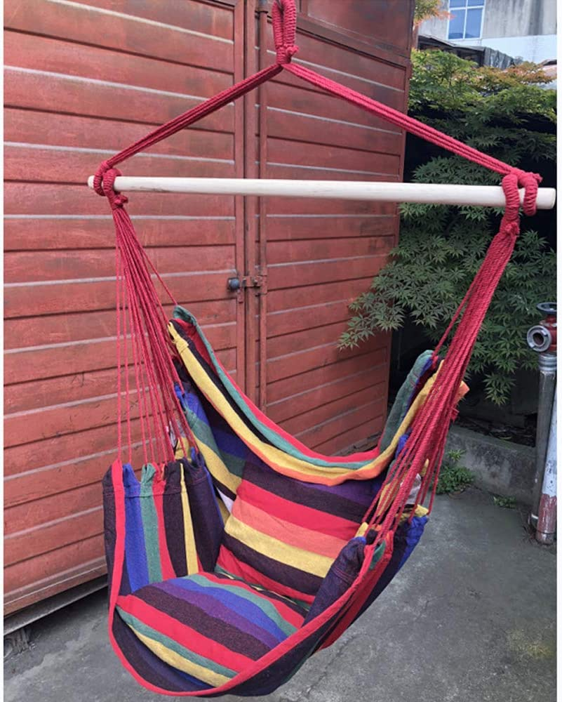 Hammock Swing Chair 2 People Rocking Chairs Hanging Tree Seat Swinging Cloth Chair Hanging Fabric Swing Chair Bedroom Indoor and Outdoor for Adult Kids Girl Boy with 2 Cushions Colorful