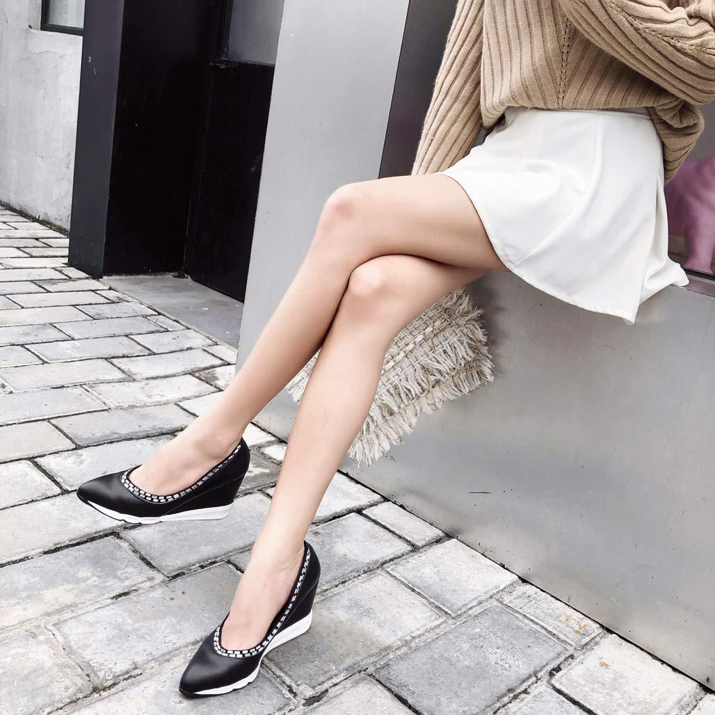 GoldGOD Damen High Heels Flachen Mund Lok Fu Schuhe Schuhe Schuhe Zeigte Partei,schwarz,38 907ae7