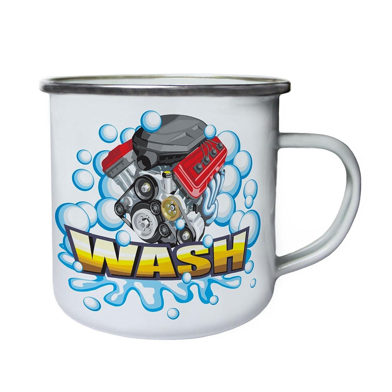 Lavar el motor de la lavadora Retro, lata, taza del esmalte 10oz ...