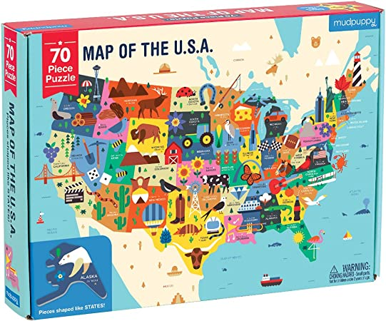"""Mudpuppy United States Puzzle 27/""""x20/"""" Finished Puzzle Shows Vibrant Illustrations of The Attributes of The 50 States 1,000 Pieces Great Family Puzzle to Enjoy Together Perfect for Ages 8-99+"""