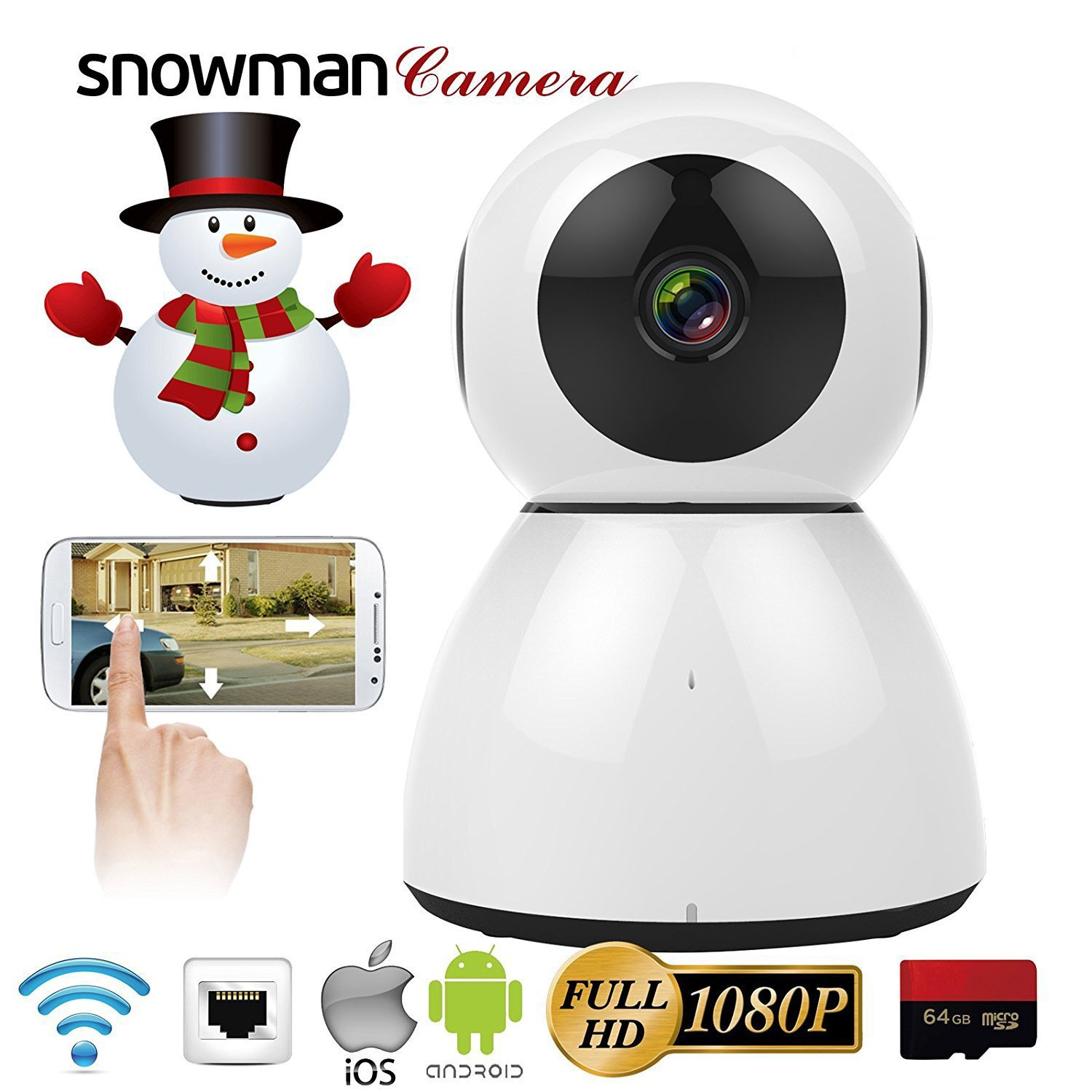 Home Security Camera, HD 1080P WiFi IP Camera, 2 Way Audio,Night Vision, Baby, Pet Security (White) by VTC (Image #1)