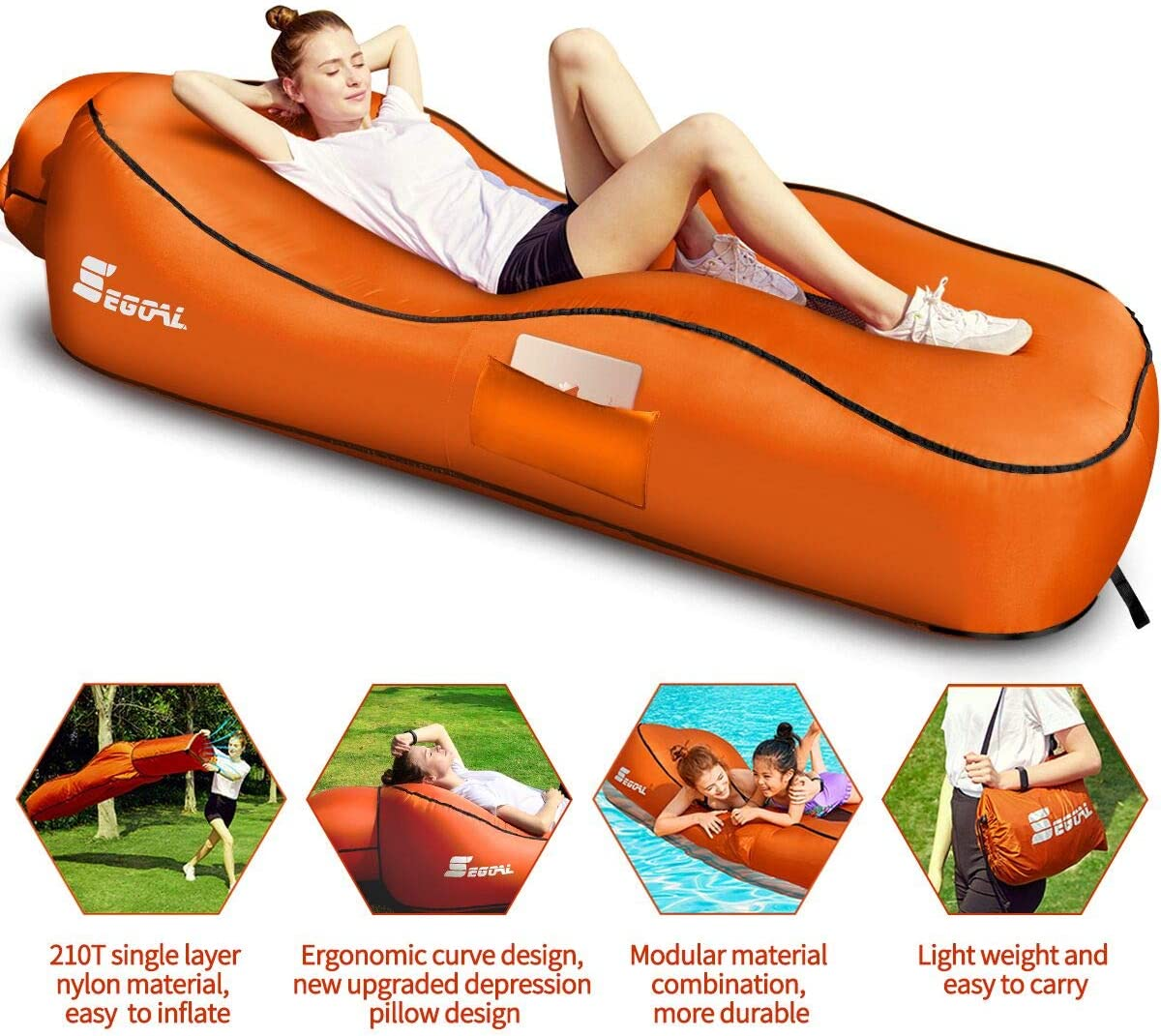Inflating Beach Camping Lounger Back Pillow Cushion Chair Casual Air Bed Mat