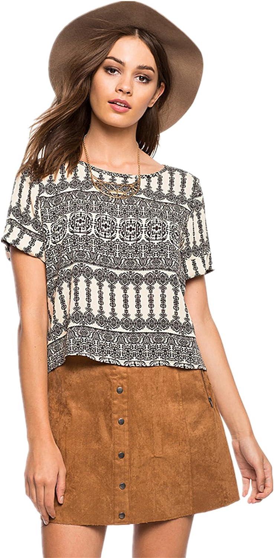Moda African Aztec Impresión Estampado Chifón Blusón Blusa T-Shirt Camiseta Cuadrada Crop Corta Corto Top Beige Negro 2XL: Amazon.es: Ropa y accesorios