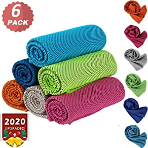 MEETWAY 6PCS Cooling Towel Beach Towel Cooling Towels for Neck Ice Towel Chilly Cool Towel for Athletes Neck Cooler Quick Drying Sports Cooling Towel