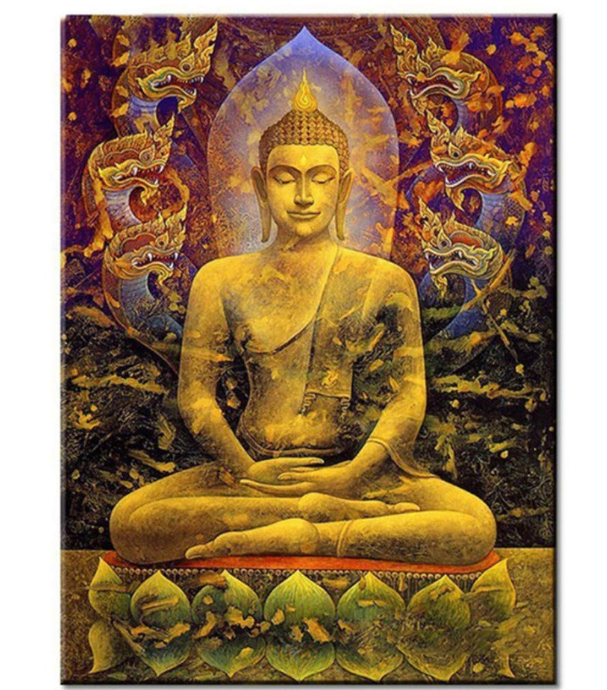 Msliuhuahua 3D Golden Lotus Buddha Painting By Numbers Fai da Te Modern Wall Art Picture O Adulti Kids Beginner Acrilico su Tela Dipinto A Mano Decorazione della Casa Regalo 40X50Cm Senza Telaio