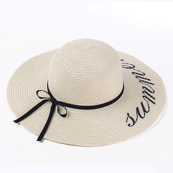 88bedc8c Summer Women Sun Hat Wide Brim Straw Hats Outdoor Beach Panama Church Hat  Feminino Sun Cap at Amazon Women's Clothing store: