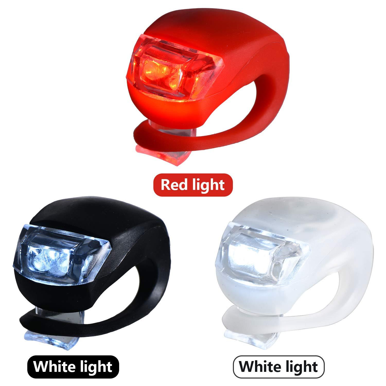 Mudder 12 Piezas de Luces de Bicicleta Luz de Bicicleta LED de Silicona Luz Delantera y Trasera de Bicicleta Impermeable
