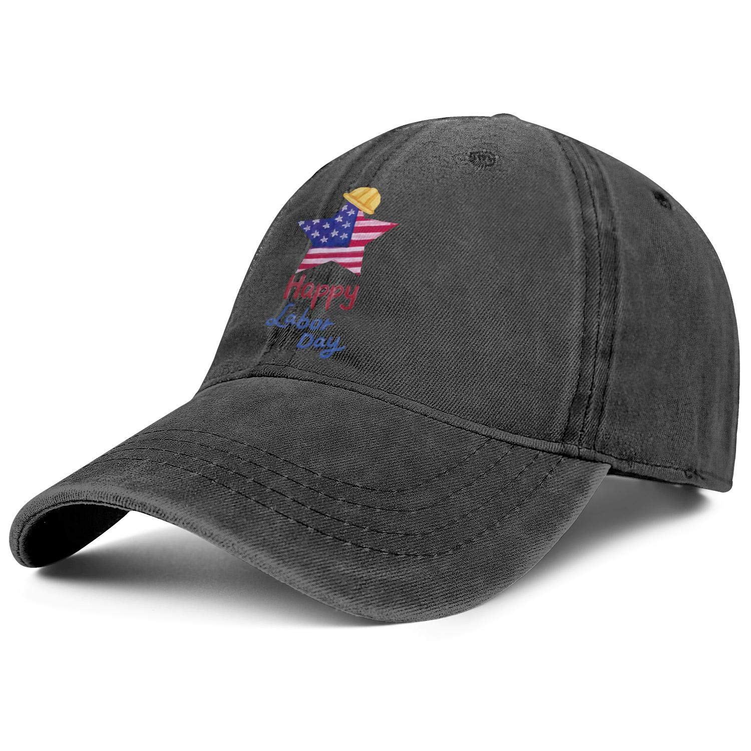 TkYioP Denim Caps Happy Labor Day Adjustable Lightweight Sunscreen Truckers for Women//Men