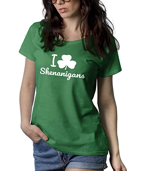 30a63eba Amazon.com: Green I Love Shenanigans Tshirt - St Patricks Day Shamrock  Shirts for Women: Clothing