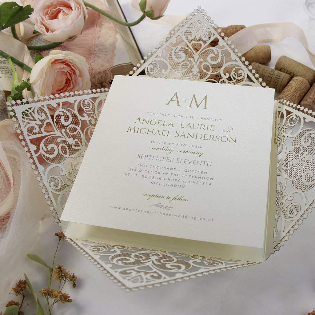 Taufe - mit Creming Spitze Hochzeit Hochzeitskarten Geburtstagskarten Geburstag Einladungen Kindergeburtstag DIY Scrapbooking 50 St/ück mit Kuvert