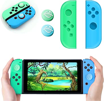Haobuy Joy-con Caps and 2 Joystick Cover for Nintendo Switch, Joy con Controller Replacement with 2 Thumb Stick Grip Cap Leaf Crossing Switch, Silicone Joycon Pad Case +2 Analog Stick Cover: Amazon.es: