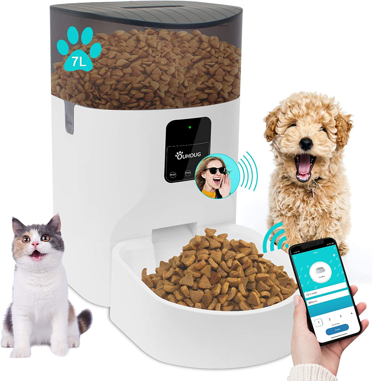 OUHOUG 7L Automatic Cat Feeder,Wi-Fi Enabled Smart Pet Feeder for Cats and Dogs,Programmable Portion Control 1-20 Meals per Day,Voice Recorder and Distribution Alarms