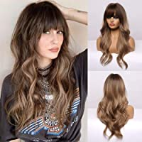 BOGSEA Long Wavy Wigs with Bangs Ombre Light Ash Brown Wigs for Women Synthetic Wigs for Daily Party Cosplay Wear 24…