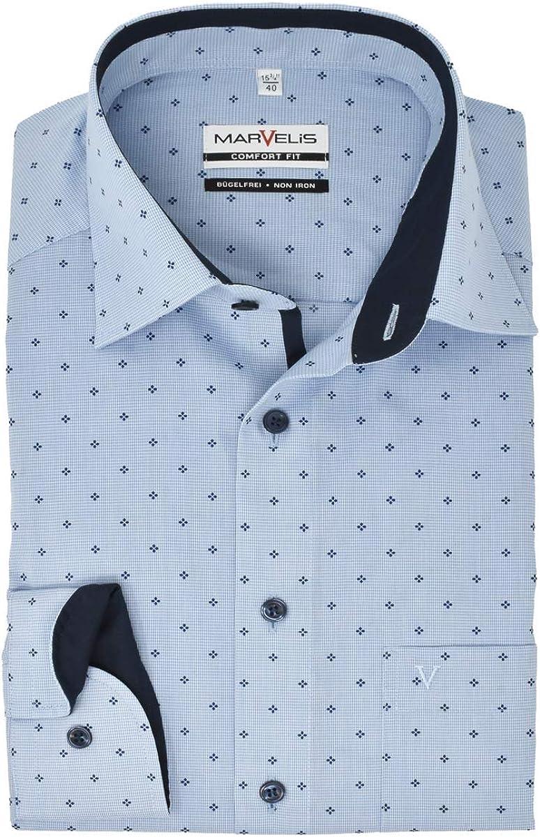 Marvelis Comfort Fit - Camisa de manga larga New Kent cuello patrón azul: Amazon.es: Ropa y accesorios