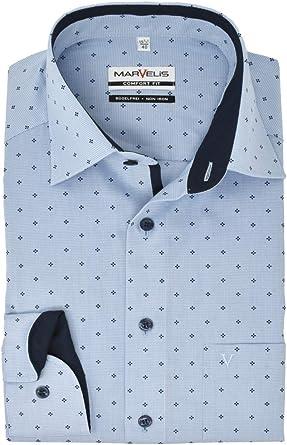 Marvelis Camisa de manga larga de ajuste cómodo con cuello en color azul.