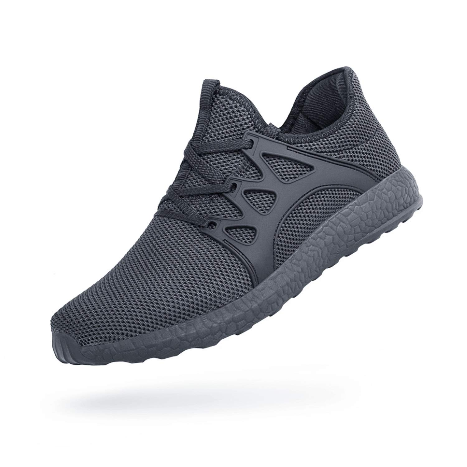 QANSI Men's Sneakers Mesh Ultra Lightweight Breathable Athletic Running Walking Gym Shoes Gray Size 9.5