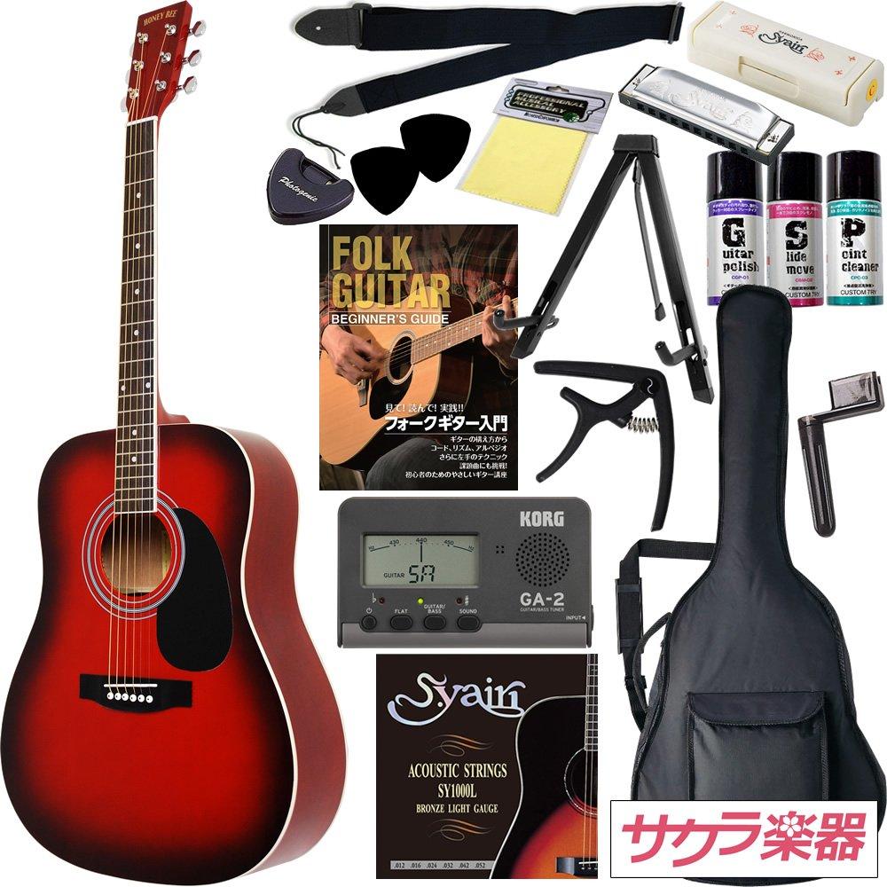 HONEY BEE アコースティックギター W-15 初心者入門16点セット /ワインレッドSB(9707021128) B002E8LPQ4