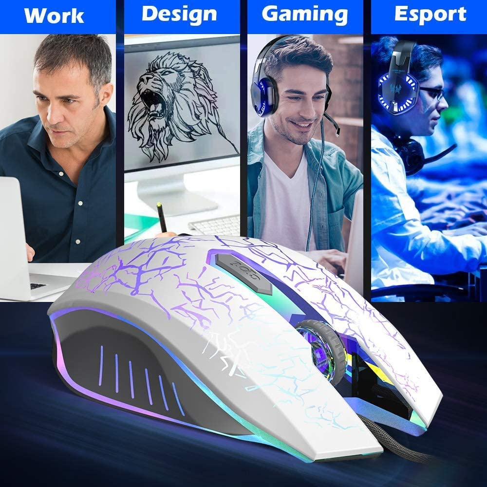 ZSLLO Wired USB Optical Number PC Notebook Mouse and Mouse 7 Programmable Buttons Gaming Mice Ergonomics DPI Adjustable with Colored Breathing Lights Color : Black