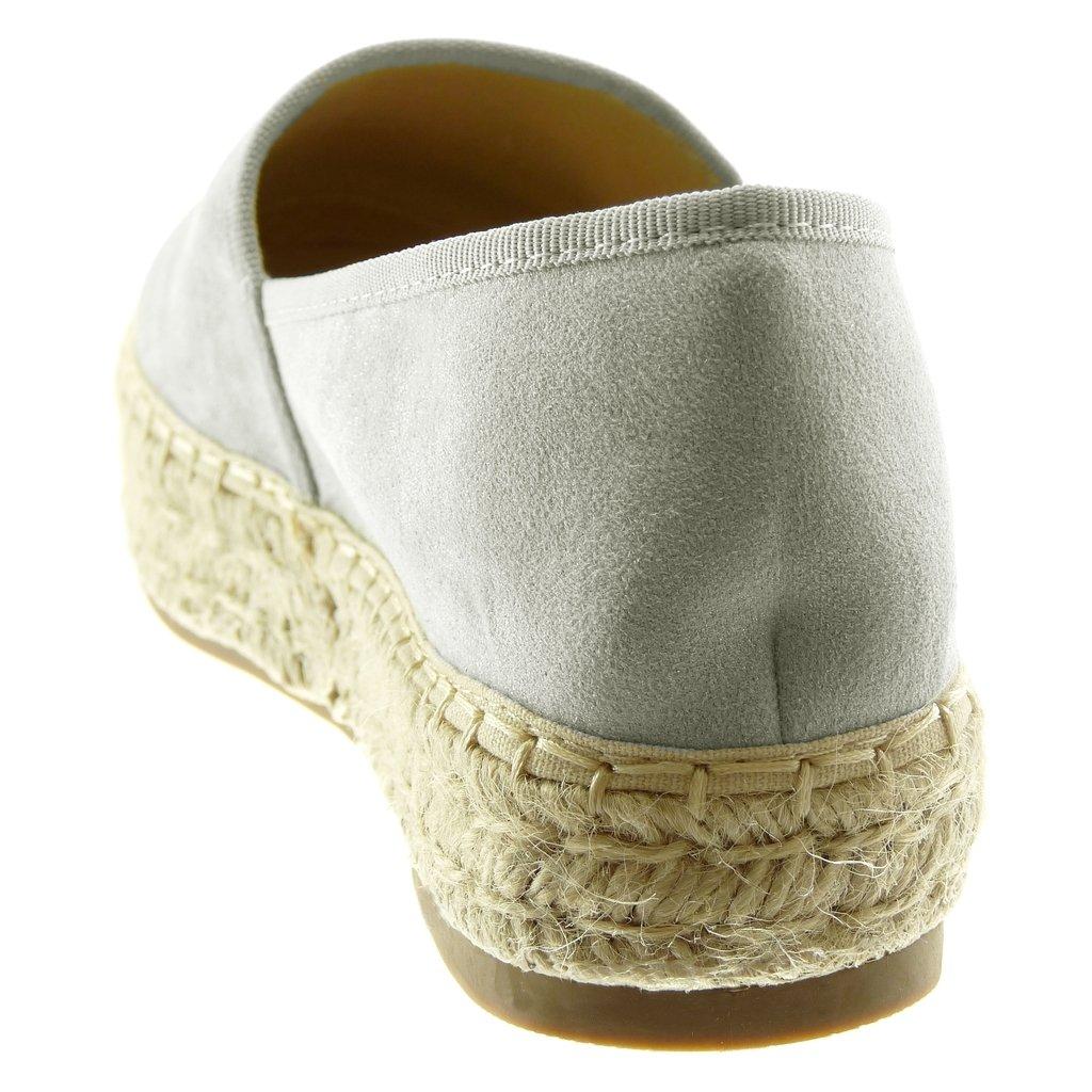 Scarpe Moda Espadrillas Slip-on Flessibile Zeppe Donna Corda Intrecciato Finitura Cuciture Impunture Tacco Zeppa Piattaforma 3.5 CM Angkorly