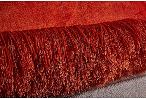 N BE Shaggy Collection, Decorative Shag Pillow, 18×18, Rust