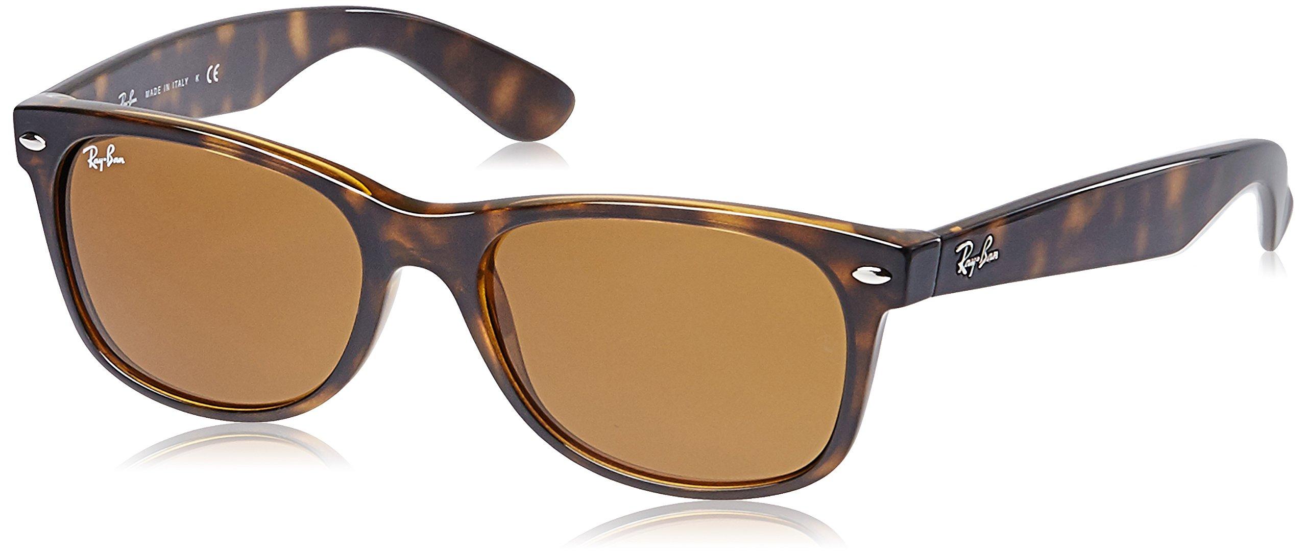 Ray-Ban, RB2132, New Wayfarer Sunglasses, Unisex Ray-Ban Sunglasses, 100% UV Protection, Polarized Wayfarer, Reduce Eye Strain, Lightweight Plastic Frame, Glass Lenses, 58 mm Frame by Ray-Ban (Image #1)