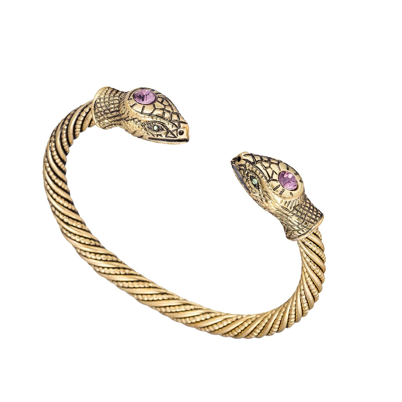 fishhook Vintage Viking Pagan Snake Head Cobra Screw Metal Cuff Bangle Wristband Bracelet Jewelry GeXiang