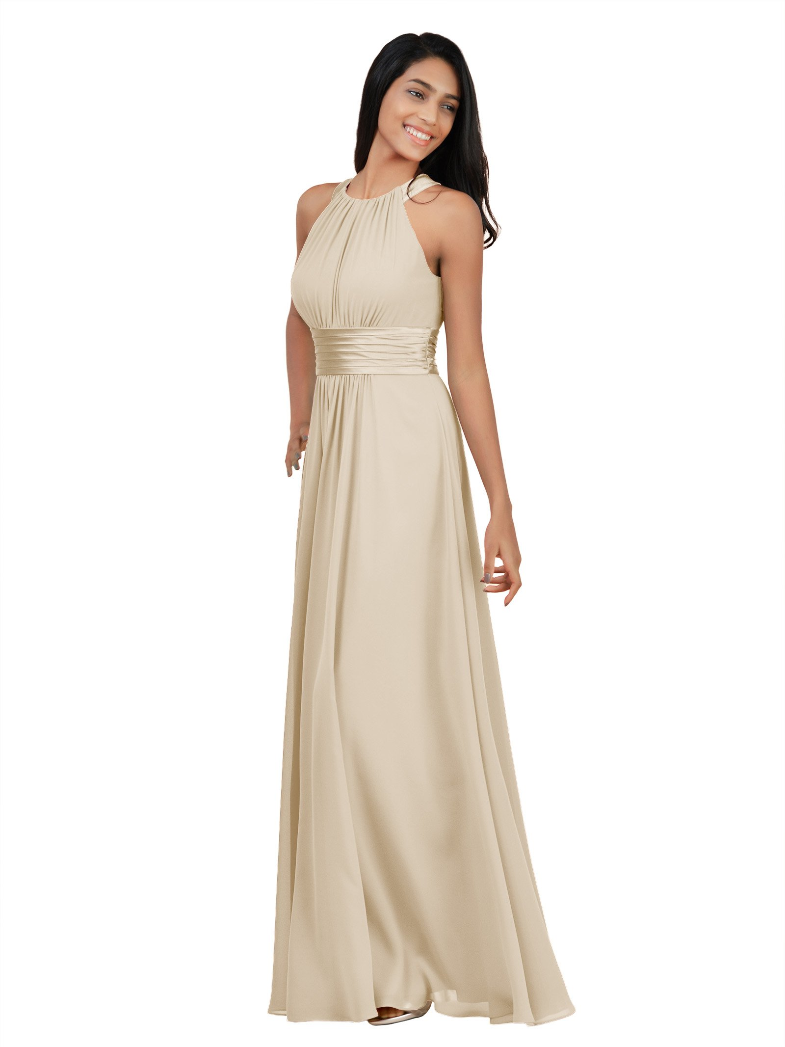 542ad5bd2b2 Alicepub Sleeveless Bridesmaid Dresses Long for Women Formal Elegant Halter  Evening Dresses for Weddings Empire Maxi Party Prom Gown
