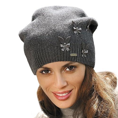 Kamea Ramira cappello in tinta unita con fiocco e zirconi sul lato fatto in caldo materiale rayon – fabbricato in UE