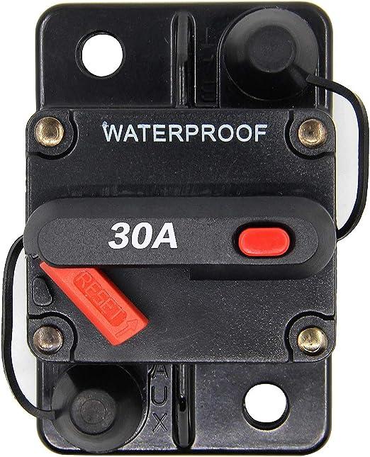 ZOOKOTO Manual Reset 30A Circuit Breaker Fuse holder For Motor Auto Car Marine Boat Bike Stereo Audio Waterproof