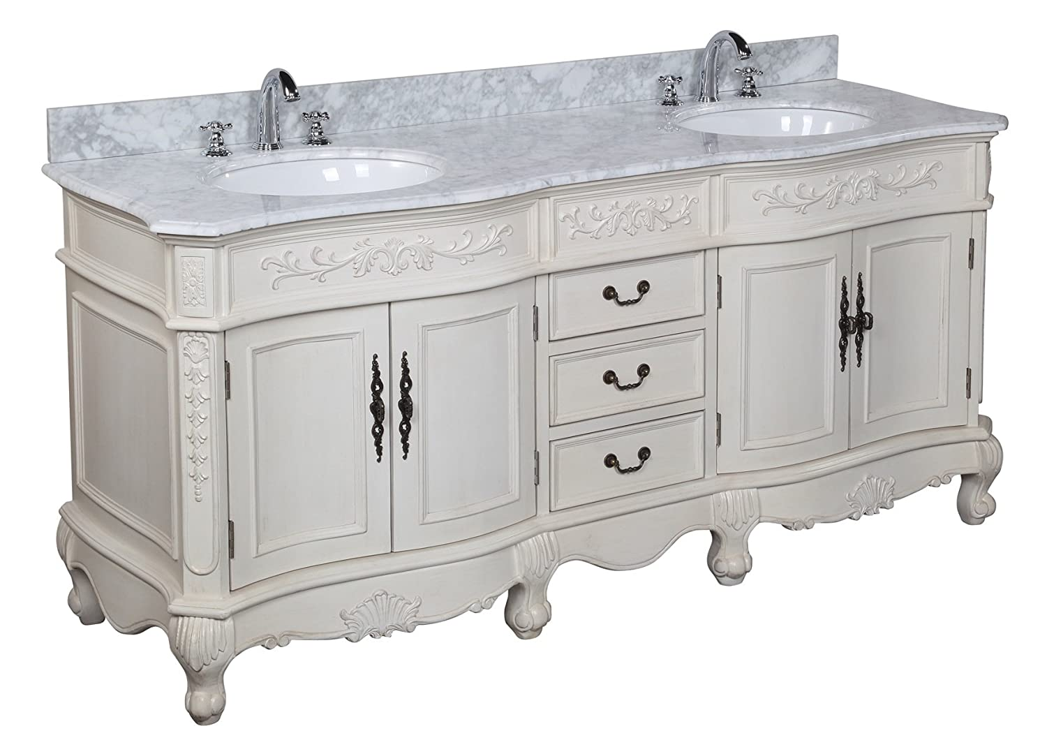 Versailles 72-inch Bathroom Vanity Carrara Antique White Includes Antique Style Cabinet with Soft Close Drawers, Carrara Marble Countertop, and Two Ceramic Sinks