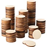Boao 1 Inch Unfinished Wood Slices Round Disc Circle Wood Pieces Wooden Cutouts Ornaments for Craft and Decoration (200 Piece