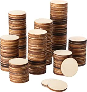Boao 1 Inch Unfinished Wood Slices Round Disc Circle Wood Pieces Wooden Cutouts Ornaments for Craft and Decoration (200 Pieces)
