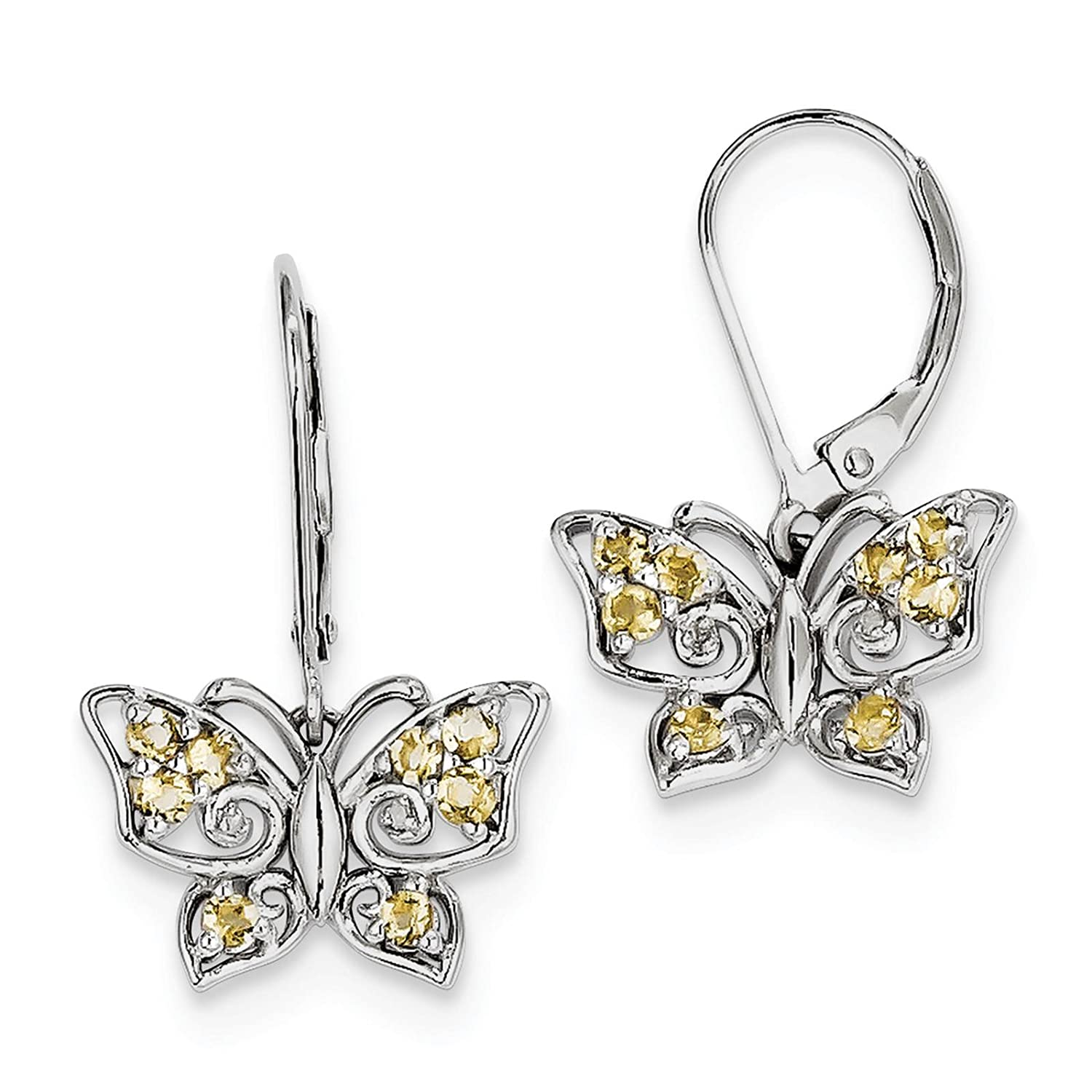925 Sterling Silver Rhodium-plated Whiskey Quartz /& Diamond Butterfly Post Earrings