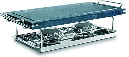 IBILI Grill, Acero Inoxidable, Incluye Piedra con Soporte, Bandeja y 2 lamparillas, Plata, 37 x 18 cm